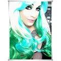Новый Стиль Harajuku Светлый Блондин и Синий Зеленый Смешанная Длинные Разноцветные волнистые Синтетический Парик Аниме Косплей Парик Прекрасный Парик для партия