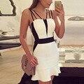Новый Сексуальный Женщины Лето Повседневная Рукавов Вечера Партии Короткие Мини Платья Черный Белый Сплит Элегантное Платье