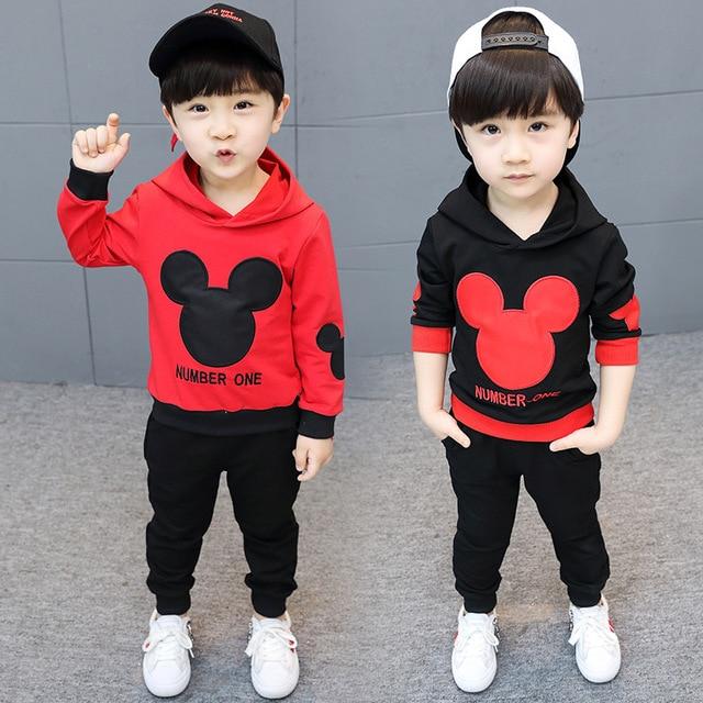 c38849c6 2018 Children's Suit Autumn New Boy Mickey Long Sleeve Suit Children's  Children's Solid Color Cartoon Sweater Trousers12M-6T