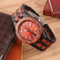 Red Sandalwood Watch Men Clock Man Vogue Embed Rivet Bezel Wood Watch Full Woody Band Calendar Quartz Analog Hour Clock Gifts