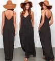 Moda Sexy Mulheres Verão Boho Maxi Vestidos Longos Casual Dots Vestido de Praia