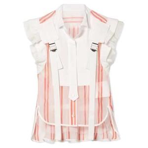 Image 5 - TWOTWINSTYLE פסים Hit צבע טלאים נשים חולצה צווארון עומד שרוולים קפלי טוניקת חולצה נשי אופנה 2020 קיץ