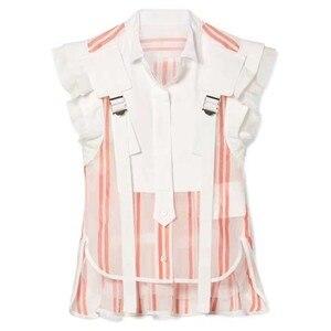 Image 5 - Twotwinstyle listrado hit cor retalhos blusa feminina gola sem mangas babados túnica camisa feminina moda verão 2020