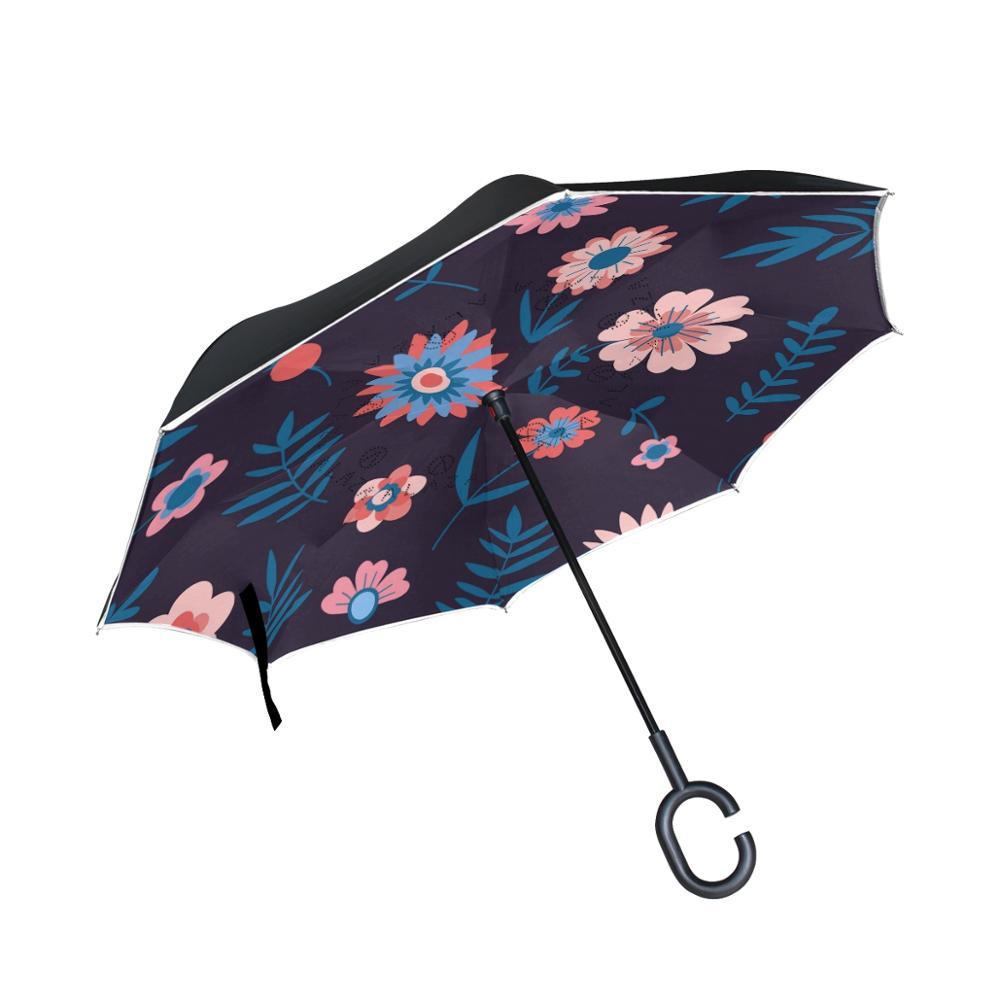 Susino fleur bleu foncé nouveau parapluie inversé pour voiture femmes hommes Double couche imperméable coupe-vent bâton pluie parapluies
