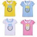 Niños Camisetas Niños de la Ropa de Calidad 100% Algodón Patrón de Arco de Manga corta Camiseta de Las Muchachas Muchachas de la Marca de Ropa de Verano 2015 estilo
