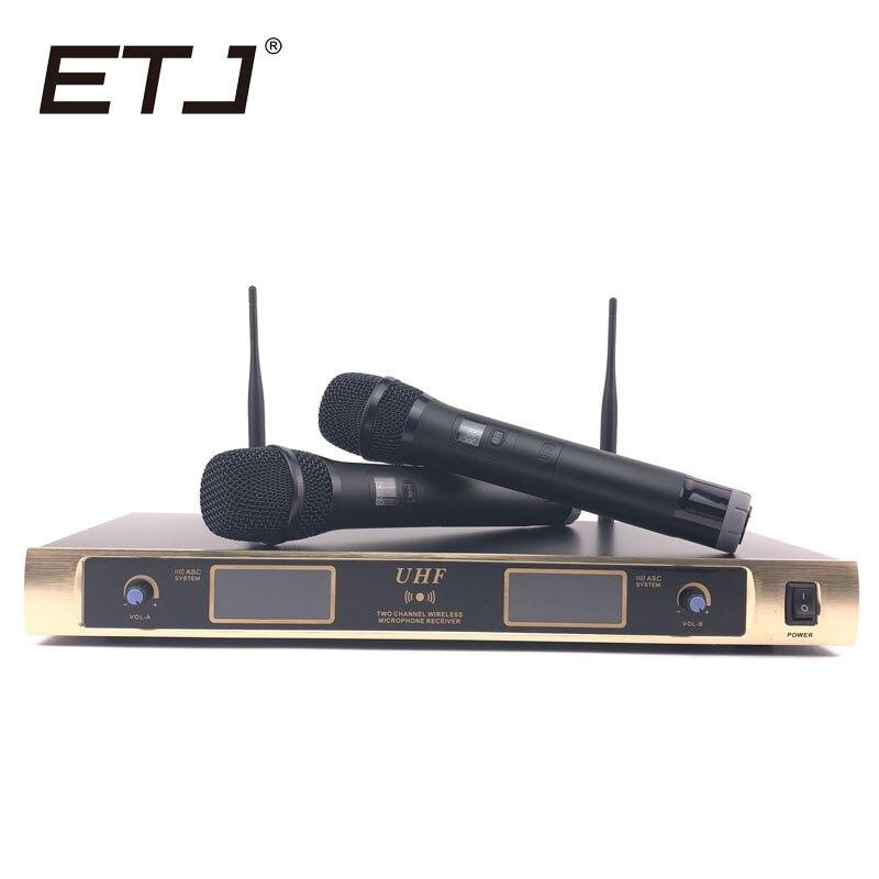 ETJ di Marca Professionale 2 Palmare Microfono Senza Fili di Karaoke 2 Trasmettitori Microfono N-901ETJ di Marca Professionale 2 Palmare Microfono Senza Fili di Karaoke 2 Trasmettitori Microfono N-901