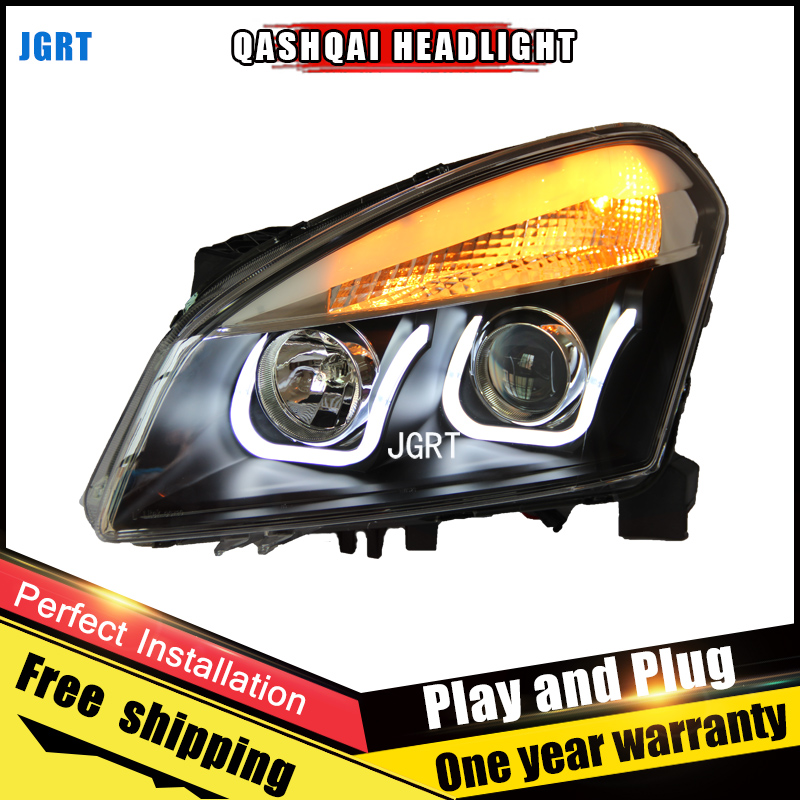 Car Style LED headlights for Nissan Qashqai 2010-2013 for Qashqai head lamp LED DRL Lens Double Beam H7 HID Xenon bi xenon lens hireno headlamp for 2013 2015 nissan tiida headlight assembly led drl angel lens double beam hid xenon 2pcs