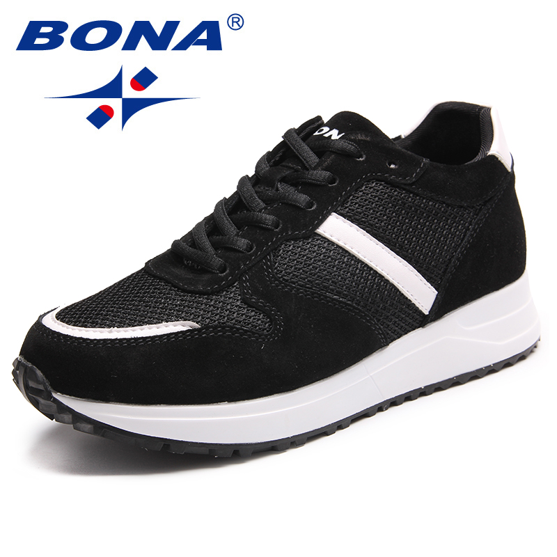 BONA New Classics Style Women Sneakers Shoes Lace Up Femme Casual Shoes Mesh Female Comfort Shoes Chaussure Femme Zapatos Mujer royyna new cute design women sneakers shoes flower femme casual shoes mesh lady flats outdoor chaussure femme zapatos mujer
