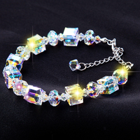 Hot Sale NEW 925 Sterling Silver Austria Crystal Charm Bracelets Square Wishing Stone Luxury Girl Crystal Jewelry Christmas Gift