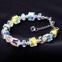 Hot venda nova 925 Sterling Silver áustria cristal charme pulseiras praça desejando pedra luxo menina de cristal jóias presente de natal