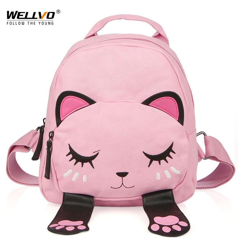 все цены на Cat Canvas Backpack School Bag for Teenagers Girls Students Back Pack Funny Preppy Backpacks Shoulder Bag Children Bags XA2026C онлайн