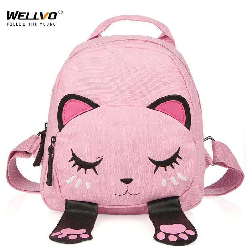 Cat Canvas Backpack School Bag for Teenagers Girls Students Back Pack Funny Preppy Backpacks Shoulder Bag Children Bags XA2026C