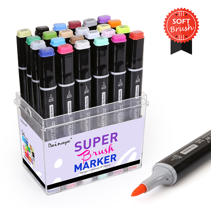 Dainayw 24 Colors Soft Brush Markers Set Alcohol Based Sketch Marker Pen For Manga Designing Professional Drawing Art Supplies 24 30 40 60 80 colors sketch copic markers pen alcohol based pen marker set best for drawing manga design art supplies school