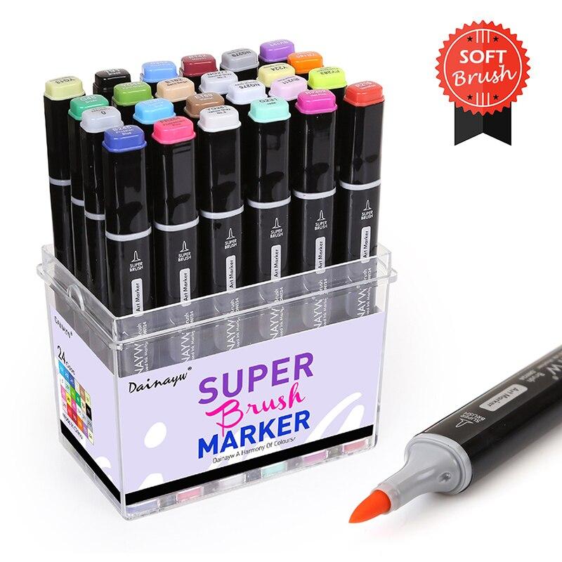 Dainayw 24 couleurs doux pinceau marqueurs Set à base d'alcool croquis marqueur pour Manga conception professionnelle dessin Art fournitures