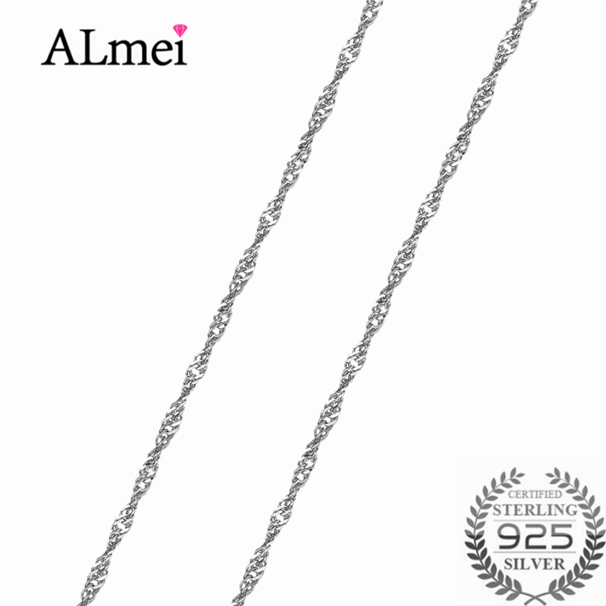 Almei Real 925 Sterling Silver Water Wave Long Chain Necklace Luxury Fine Jewelry Neck Accessary 40cm 45cm for Womens Men B1005