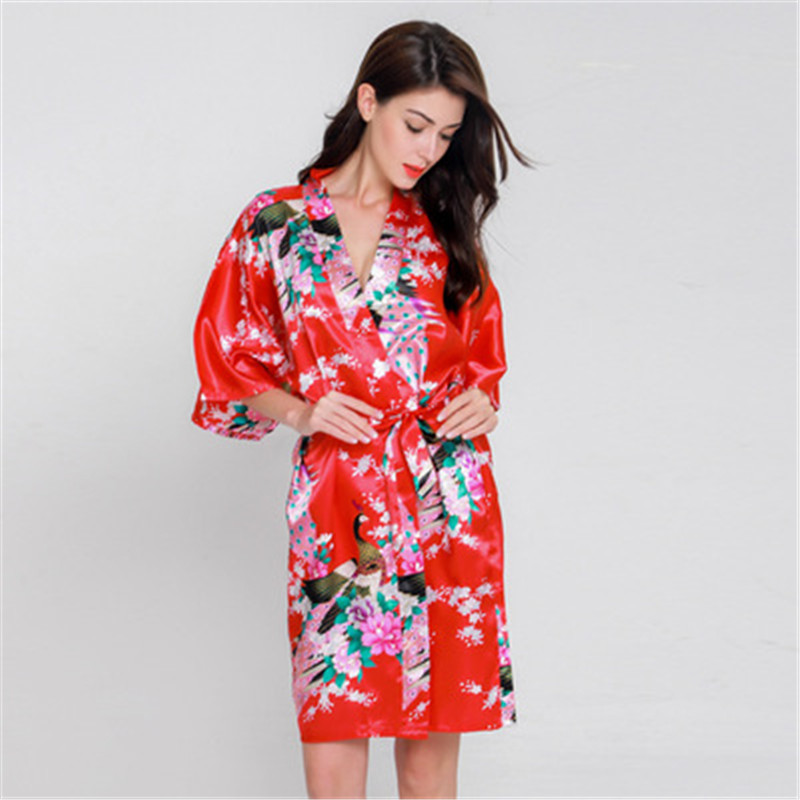 Weiqiya 2018 Women Ladies Sexy Silk Kimono Dressing Gown Bath Robe   Nightgowns     Sleepshirts   Nightdress Cotton Nightdress For Women