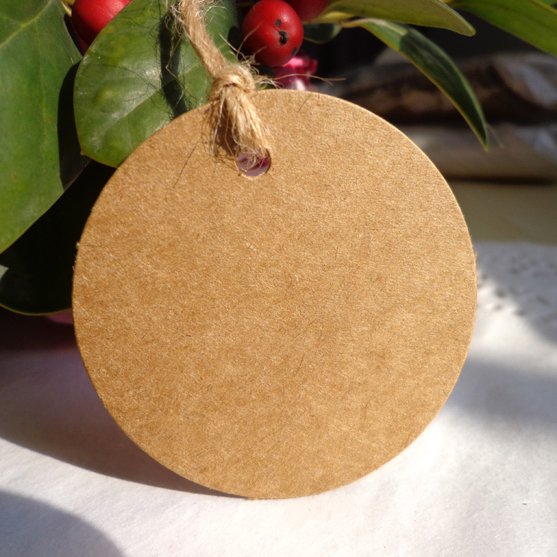 Wholesale Dia.5cm ,(500pcs/lot ,String Included) Round White Black Kraft Blank Gift tag,Kraft Round Hang tag Paper Cards