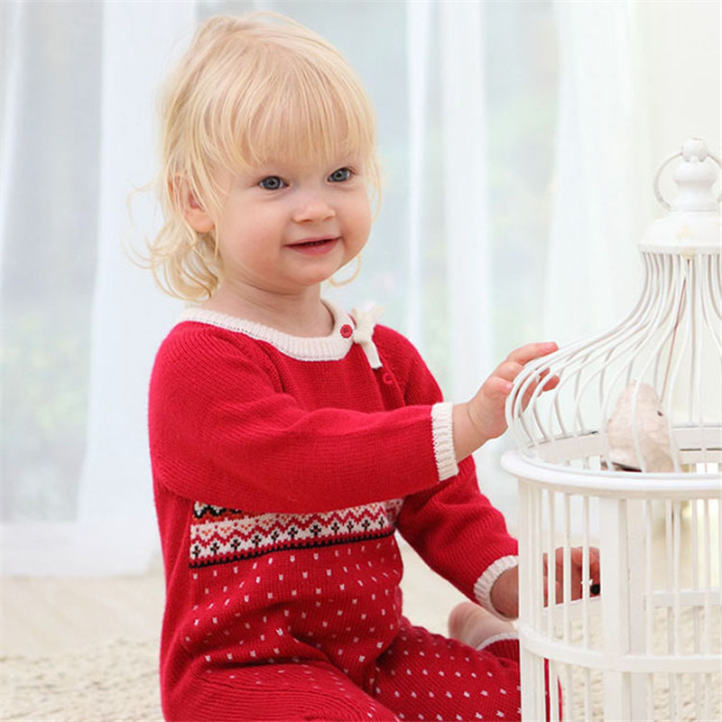 High Quality Baby Climb Clothing Newborn Baby Girls Warm Romper Spring Autumn Winter Baby Cotton Knit Jumpsuits 0-24M Red Romper newborn winter autumn baby rompers baby clothing for girls boys cotton baby romper long sleeve baby girl clothing jumpsuits