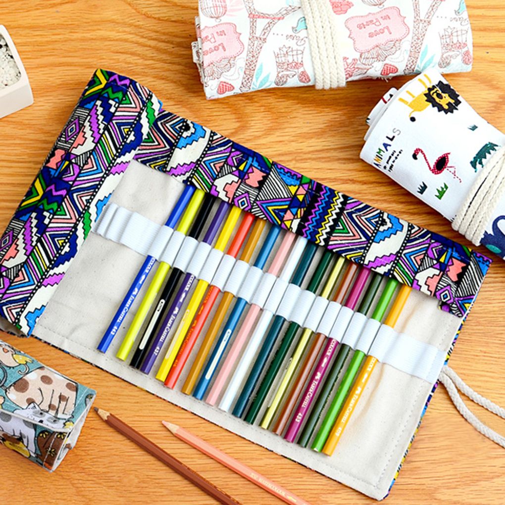 Ethnic Style Pencil Case Stationery Canvas Pen Roll Up Bag Pencils Storage Organizer Pen Bags School Supply Stationery large capacity pencil case canvas 120 slots 4 layers school pencil bag art marker pen holder coloring pencils organizer
