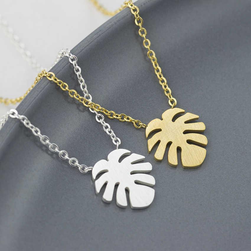 Гавайские Алоха Пальма Подвески Monstera Leaf Ожерелье s женские модные ювелирные изделия ожерелье из нержавеющей стали колье Femme Bff