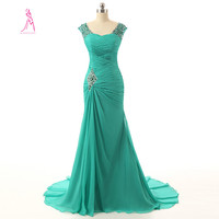 J Y 2014 New Arrival Beading V Neck A Line Long Evening Dress Pleat Chiffon Floor