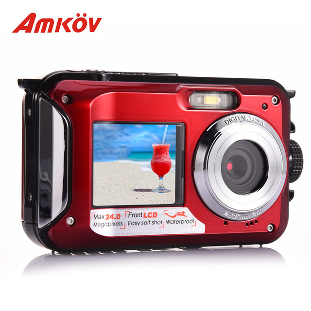 AMKOV W599 24 MP Professional Camera Front & Rear Dual-screen HD Camera 2.7inch Digital Cameras Waterproof Compact Camera 3color