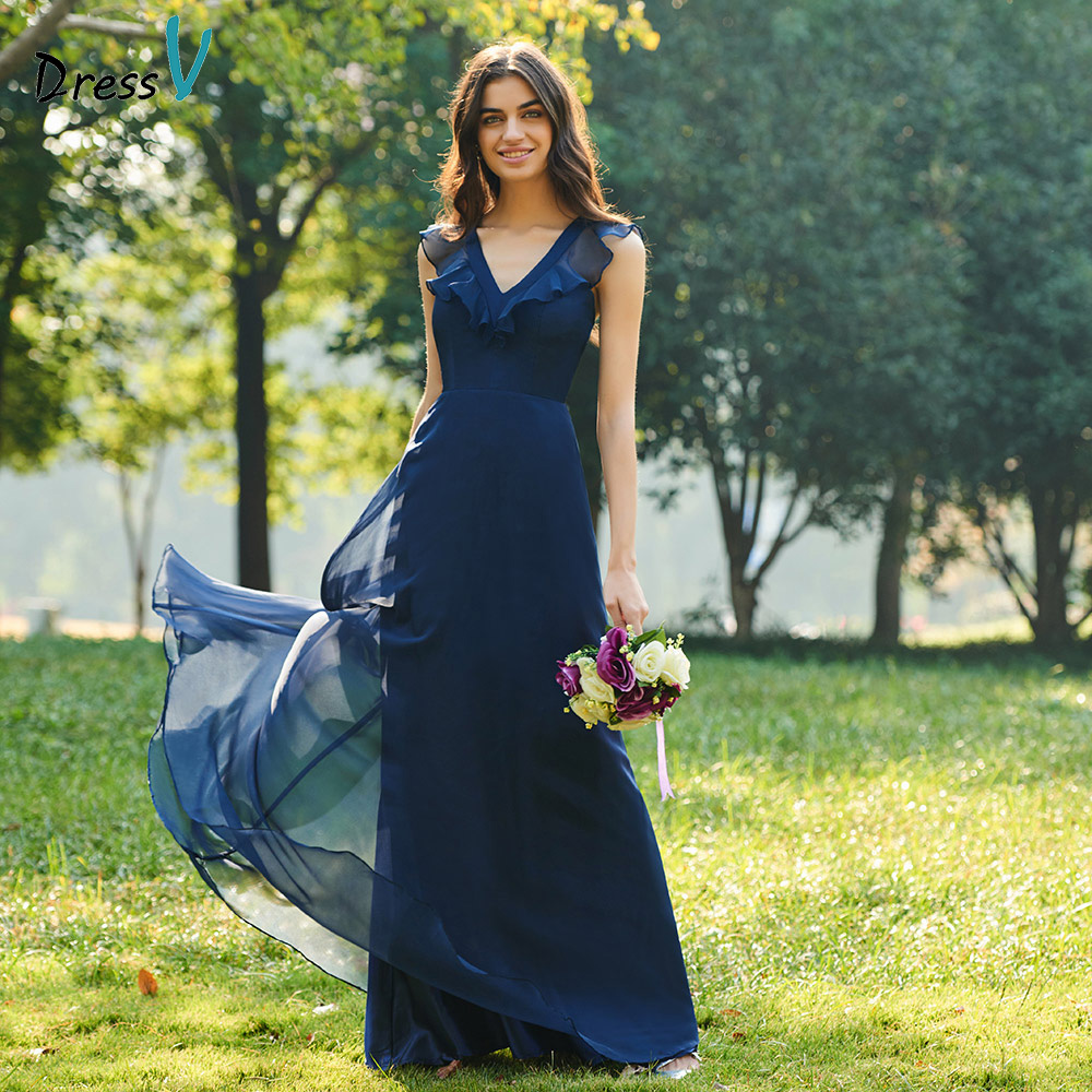 Dressv dark navy v neck a line   bridesmaid     dress   zipper-up sleeveless ruffles wedding party women floor length   bridesmaid     dresses