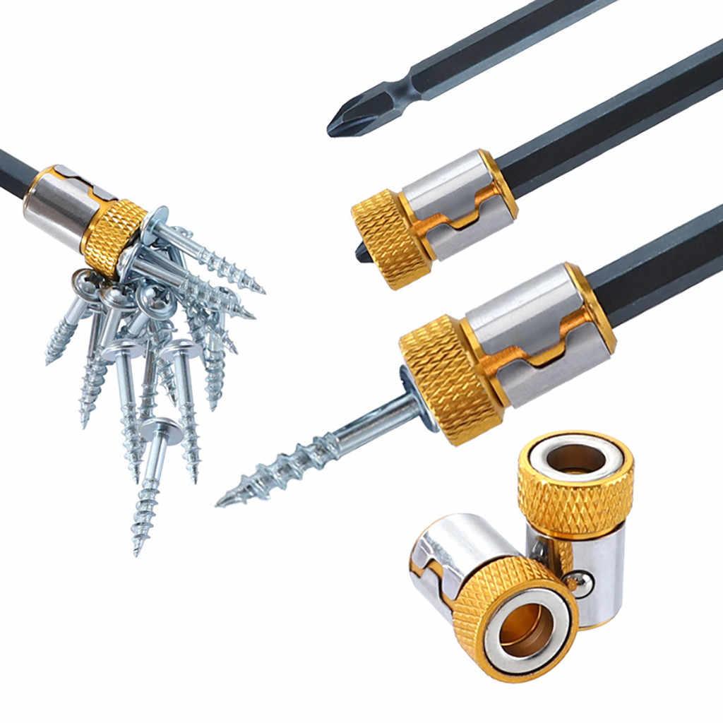 Nuevo anillo magnético Universal desmontable de acero para destornillador de 6,35mm Bits herramientas manuales multifunción # sw #20