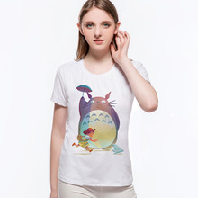 Japanese Anime T-shirt Cat Totoro With Girl Harajuku T-shirt Female Vintage Retro Print Top O-neck Plus Size Lana del rey L9-F8(China)