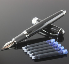 New Jinhao X750 Deluxe Black Business Writing calligraphy pen Medium Nib metal Fountain Pen ink Refill