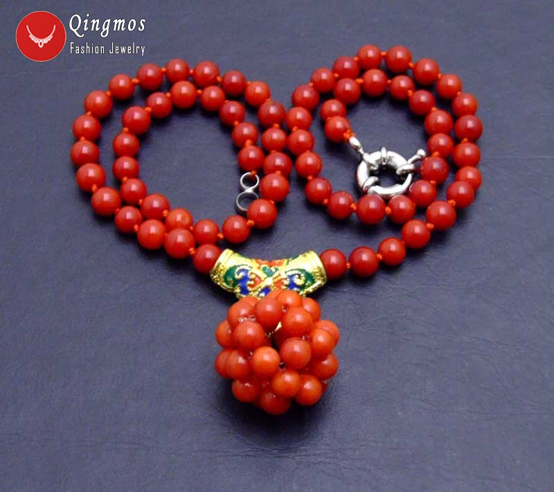 18-19mm Red 5-6mm Coral Handwork Weaving Round Ball Dangle Earrings for Women