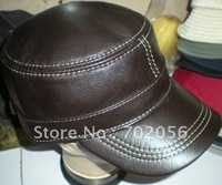 Goat Leather Baseball CAP With Adjustable Strap Stylish Hat Ear Warmer #2268