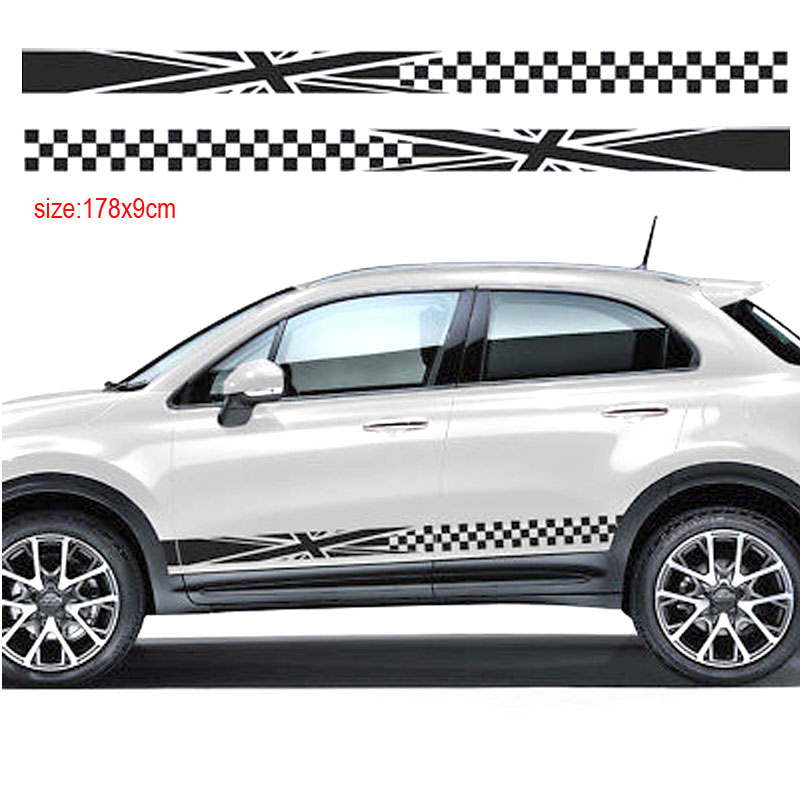 for Fiat 500X Side Racing Stripes Car Stickers Decals Rally Graphics Vinyl Auto Flag