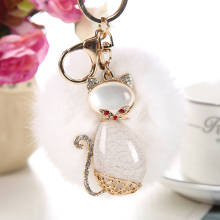 3 Colors Cute Cat keychains Key Holder Purse Bag For Car Keyring Car Leather Bag Pendant Keyholder Christmas Accessories Gift