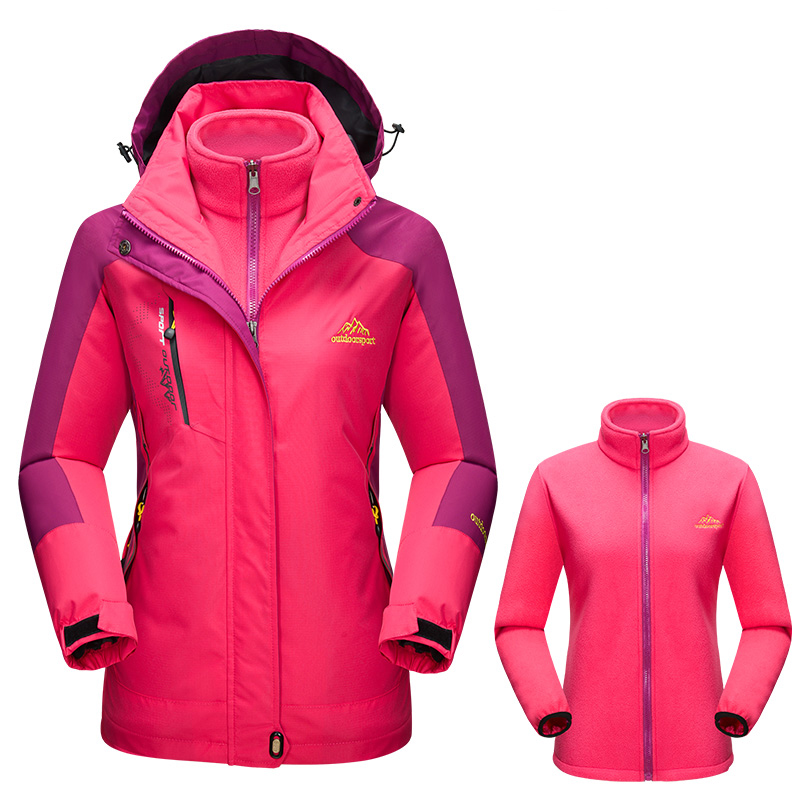 2018 Summer Women Outdoor Camping Hiking Jacket Winter Skiing Snowboard Jackets Waterproof Windproof 2 in 1 Warm Softshell Coat