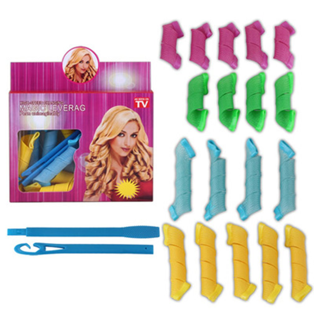 18Pcs Plastic Magic Hair Curler Rollers + 1pc Head Hooks Kit for Wet or Dry Hair DIY Wave Curler Hair Styling Tools