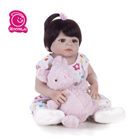 55CM 22 inch Cute bebe doll Reborn Baby Realistic Full Body Silicone Waterproof lol Boneca Toy For Kids Birthday Gift