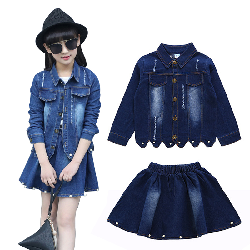 Children Clothing Sets For Girls Spring Autumn 2pcs Denim Teens Jacket & Jeans Skirt Kids Girl Clothes Set 2 4 6 8 10 12 Years new 2017 spring girls lace flower denim jacket t shirt jeans clothing sets 3pcs kids clothes sets girls casual denim suit