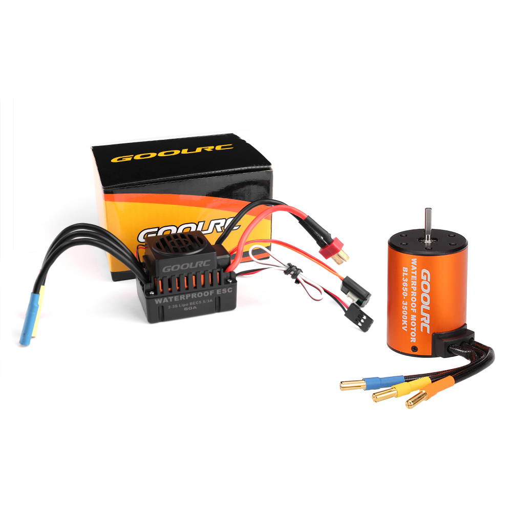 GoolRC Moteur RC Car 1:10 Parts 3650 3660 F540 3500KV 3100KV 3300KV 3800KV 3900KV 4300KV 4370KV Brushless Motor 45A 60A ESC