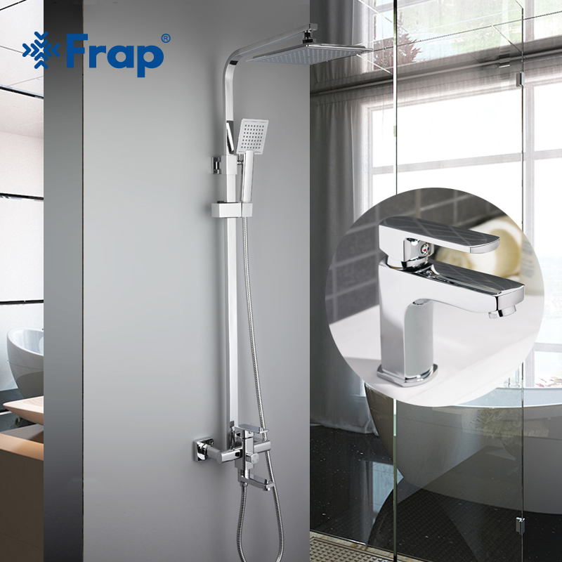 Frap Bathroom Rainfall Shower Faucet Set with basin faucet Mixer Tap With Hand Sprayer Wall Mounted Bath Shower Sets F2420+1064 chrome polished rainfall solid brass shower bath thermostatic shower faucet set mixer tap with double hand sprayer wall mounted