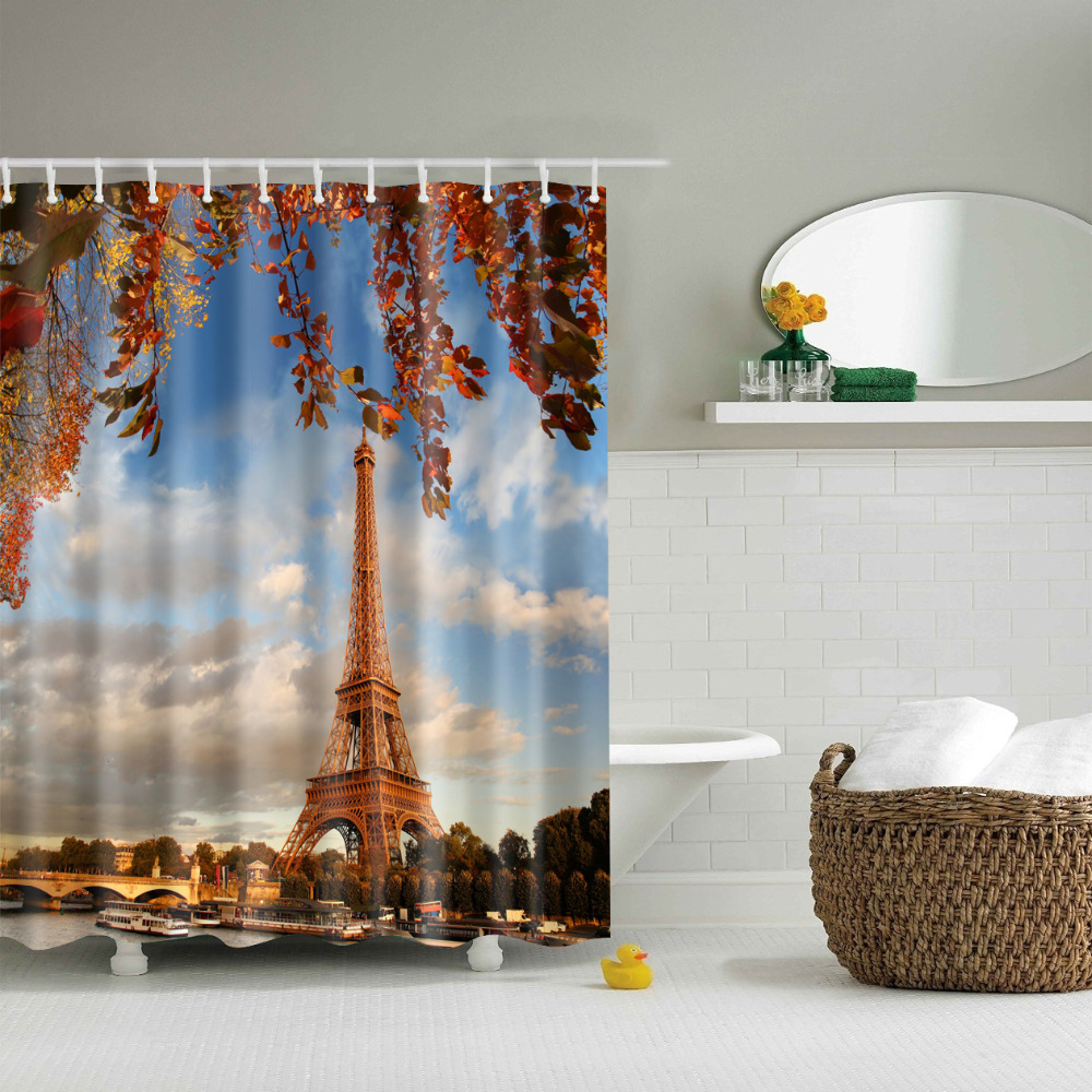 Eiffel tower bathroom decor - Eiffel Tower Print Shower Curtains Waterproof Bathroom Curtains Polyester 180x180cm Decoration With Hooks China