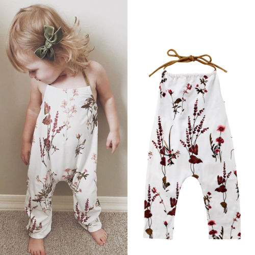 2018 New Summer Baby Girls Halter Floral Rompers Backless Kids Girl Sleevless Strap Romper Jumpsuit Child Casual Outfit 6M-5T