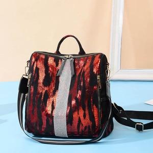 Image 3 - Animal Prints Backpack Women 2020 School Bags for Teenage Girls Vintage Diamonds Bagpack Large Capacity Travel Backpack XA445H