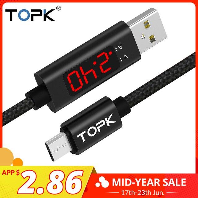 TOPK 1 M (3.28ft) מיקרו USB נתונים טעינה LED דיגיטלי מתח ותצוגה נוכחית ניילון קלוע עבור סמסונג Xiaomi LG