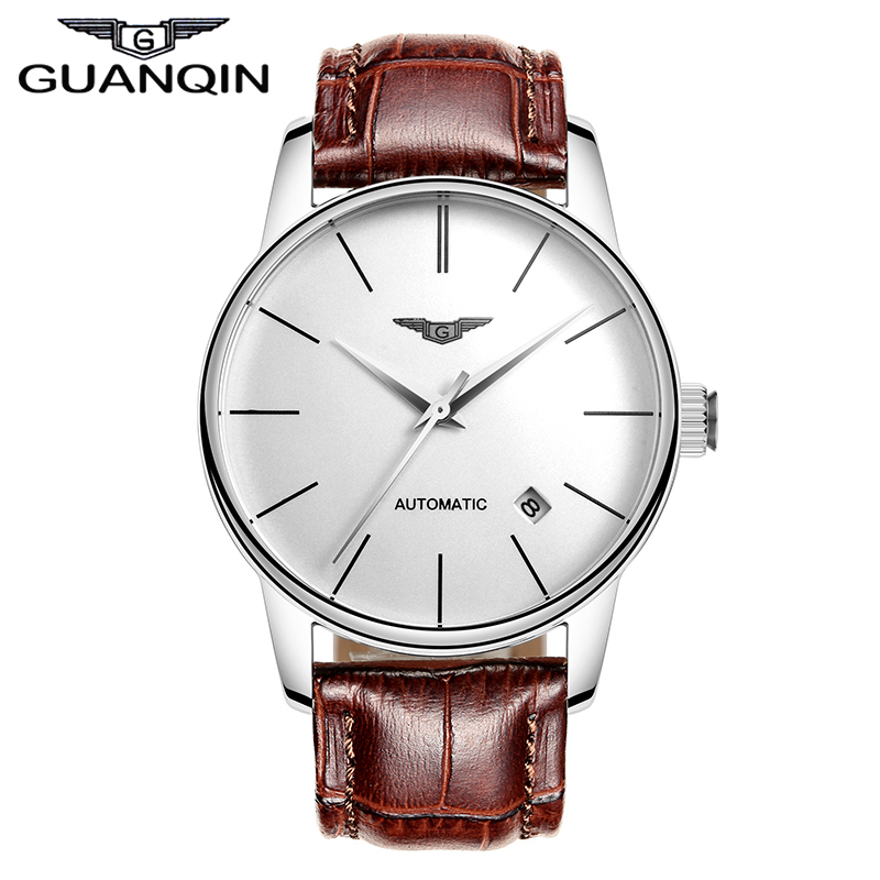 Quality GUANQIN Watches Men Top Luxury Brand Automatic Mechanical Watch Hardlex Waterproof Watches Leather Male Wristwatches