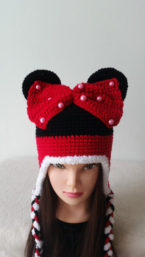 Free shipping,Baby Cartoon animal hat ,Handmade crochet childrens hat with Red bow. Baby Beanie caps 10pcs/lot