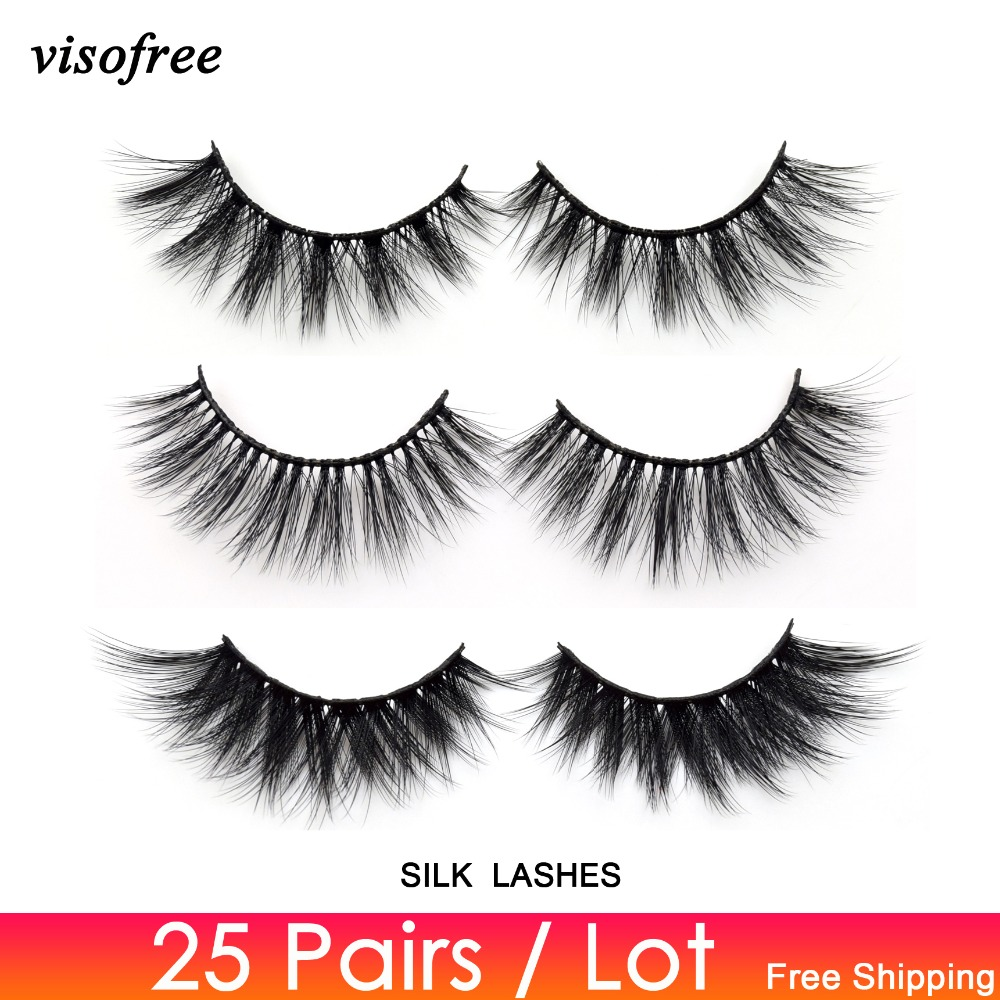 Visofree 25 Pairs/lot 3D Faux Mink Eyelashes Daramtic Silk Eyelashes High Volume False Lashes Handmade Thick Long Lashes Makeup