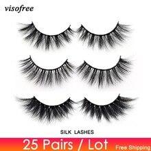Visofree 25 pairs/lot 3D Faux Mink Eyelashes Daramtic Silk Eyelashes High Volume False Lashes Handmade Thick Long Lashes Makeup
