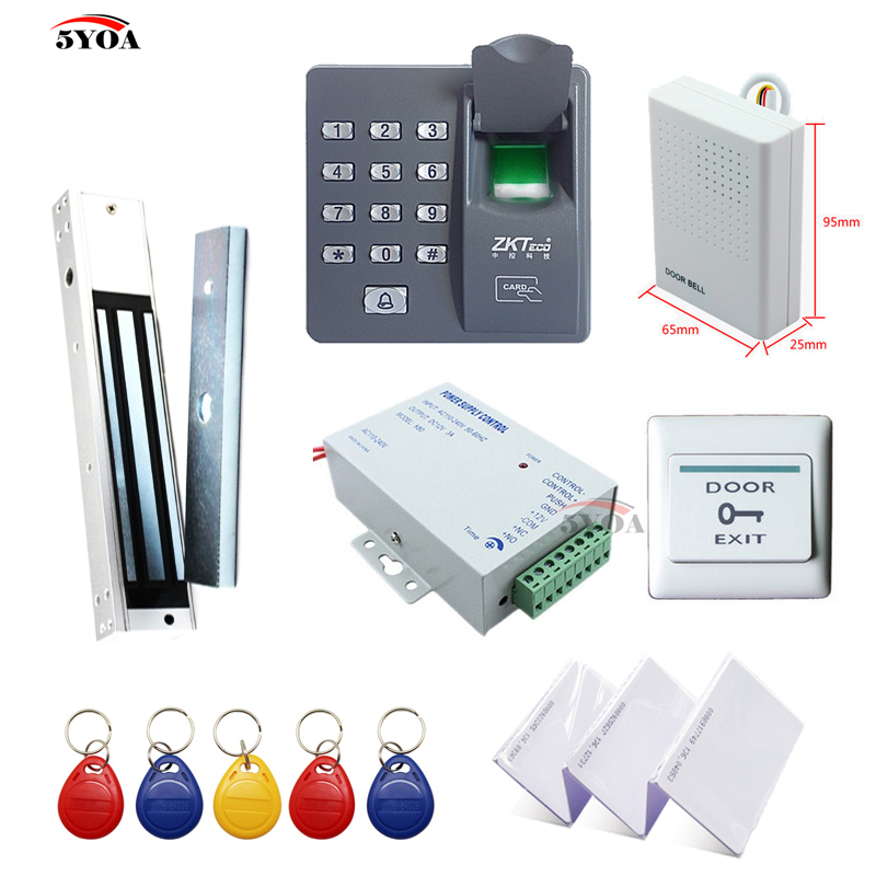 Fingerprint RFID Access Control System Kit Wooden Door Set Electric Magnetic Lock ID Card Keytab Power