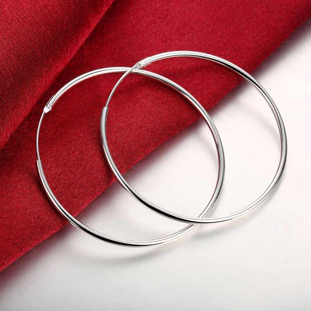 57604584d Diameter 5CM Smooth Round Creole Big Hoop earring 925 stamped silver plated  de Prata brinco Fashion